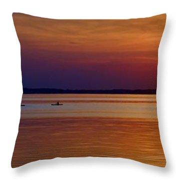 Tours End - Kayak Sunset Photo Throw Pillow