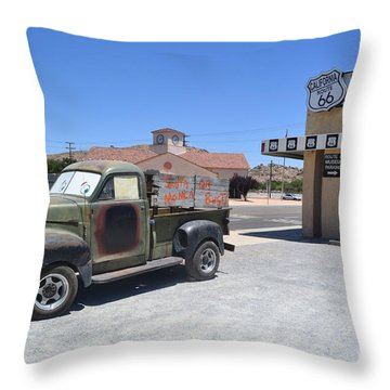 Tow Truck On Route 66 Throw Pillow