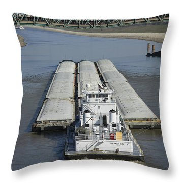 Towboat James Neal In The Chain Of Rocks Canal Throw Pillow by Garry McMichael