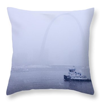 Towboat Working In The Snow St Louis Throw Pillow by Garry McMichael