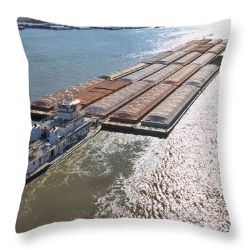 Towboats And Barges On The Mississippi Throw Pillow