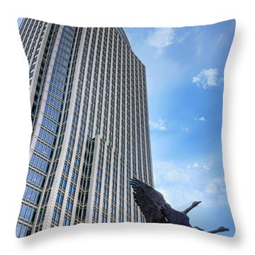 Tower And Geese Throw Pillow by Nikolyn McDonald