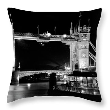 Throw Pillow featuring the photograph Tower Bridge At Night by Maj Seda