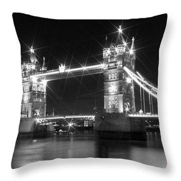 Tower Bridge By Night - Black And White Throw Pillow by Melanie Viola