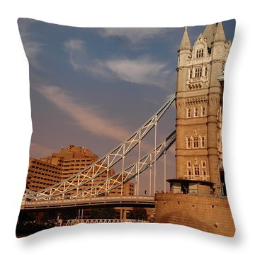 Tower Bridge Sunset Throw Pillow by Jonah  Anderson