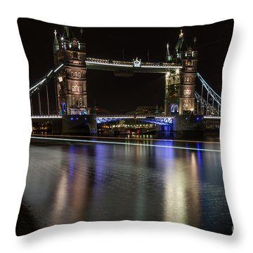 Tower Bridge With Boat Trails Throw Pillow