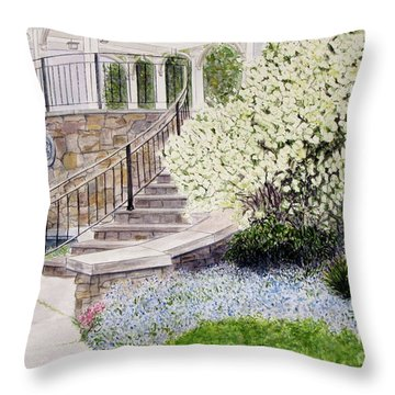 Tower Hill Blues Throw Pillow by Carol Flagg