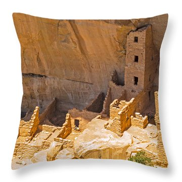 Tower House Panorama In Mesa Verde Throw Pillow