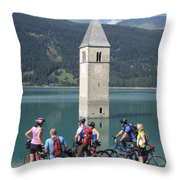 Tower In The Lake Throw Pillow by Travel Pics