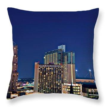 Tower Of America In San Antonio Texas City  Aerial Throw Pillow