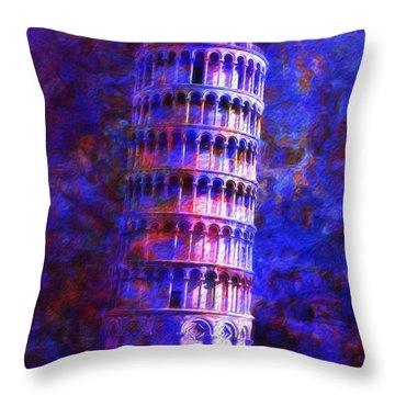 Tower Of Pisa By Moonlight Throw Pillow by Jack Zulli