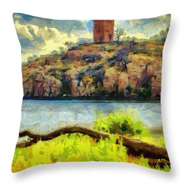 Tower On The Bluff Throw Pillow by Jeff Kolker