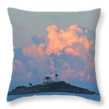 Towering Clouds Over Nubble Lighthouse York Maine Throw Pillow