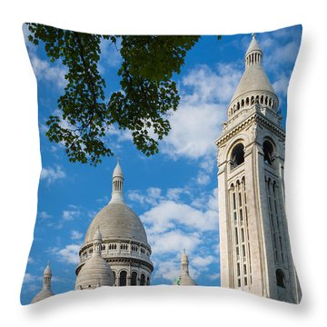 Towering Sacre-coeur Throw Pillow by Inge Johnsson