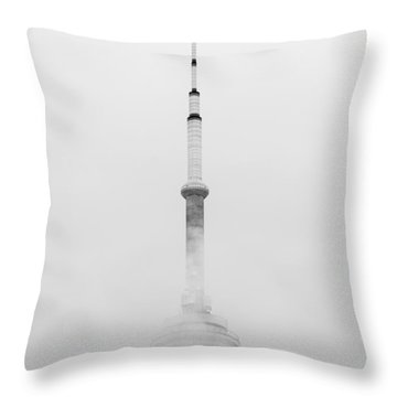 Towering Through The Fog Throw Pillow