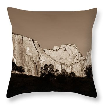 Towers Of The Virgin Throw Pillow by Adam Romanowicz