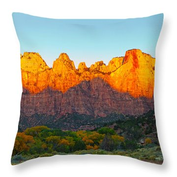 Towers Of The Virgin And The West Throw Pillow by Panoramic Images
