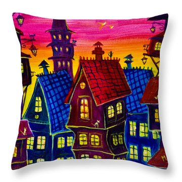Town At Twilight Throw Pillow