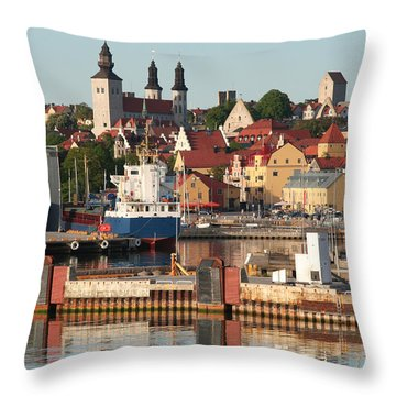 Town Harbour Throw Pillow