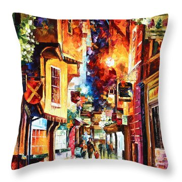 Town In England Throw Pillow by Leonid Afremov