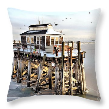 Town Pier Frozen Throw Pillow