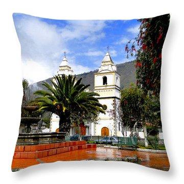 Town Square In Penipe Ecudor Throw Pillow by Al Bourassa
