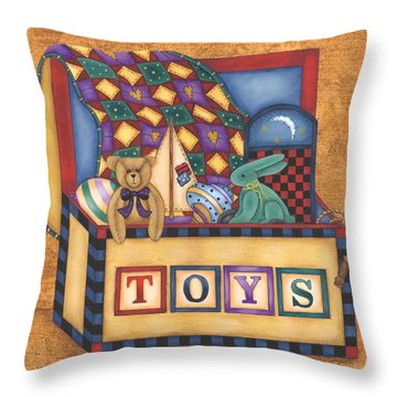 Toy Box Throw Pillow by Tracy Campbell