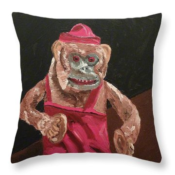 Toy Monkey With Cymbals Throw Pillow