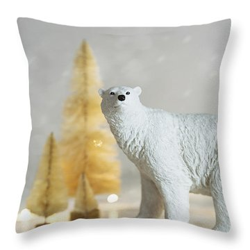 Throw Pillow featuring the photograph Toy Polar Bear With Little Gold Trees And Lights by Sandra Cunningham
