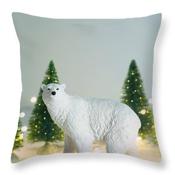 Throw Pillow featuring the photograph Toy Polar Bear With Little Trees And Lights by Sandra Cunningham