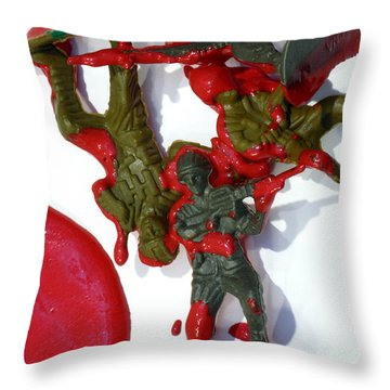 Toy Soldiers In A Pool Of Blood Throw Pillow by Amy Cicconi