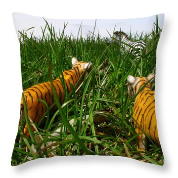 Toy Tiger Hunt Throw Pillow