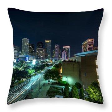 Toyota Center And Downtown Houston Throw Pillow