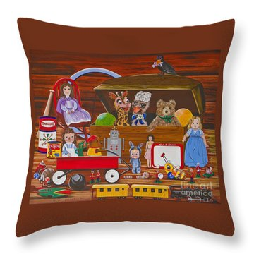 Throw Pillow featuring the painting Toys In The Attic by Jennifer Lake