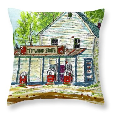 Tp Wood Store Throw Pillow