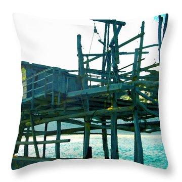 Trabocco 3 - Fishermen Stuff Throw Pillow by Marcello Cicchini