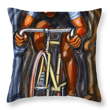 Throw Pillow featuring the painting Track Racer  by Mark Howard Jones
