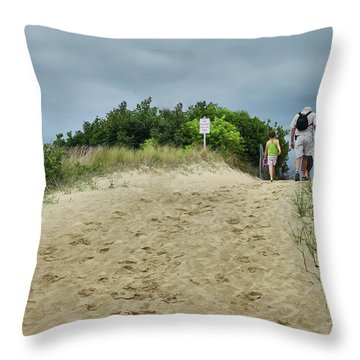 Throw Pillow featuring the photograph Tracks In The Sand by Barbara Manis
