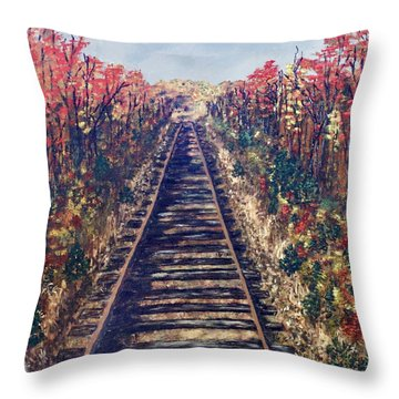 Tracks Remembered Throw Pillow by Cynthia Morgan