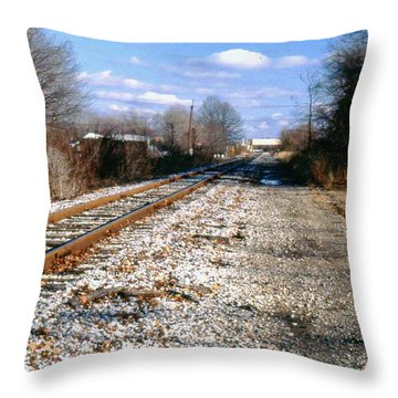 Tracks To Nowhere Throw Pillow by Gary Wonning