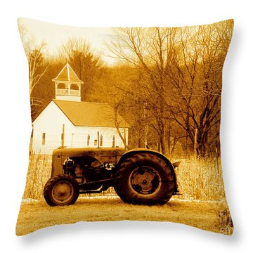 Tractor In The Field Throw Pillow
