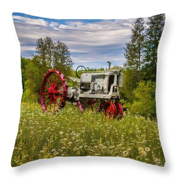 Tractor Out To Pasture Throw Pillow by Henry Kowalski