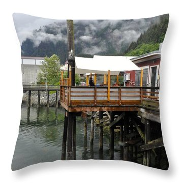Tracys Crab Shack Throw Pillow by Cathy Mahnke