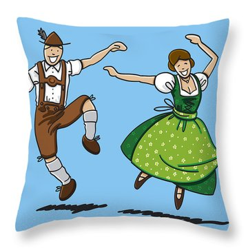 Traditional Bavarian Couple Dancing Throw Pillow by Frank Ramspott