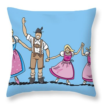 Traditional Bavarian Family With Two Daughters Throw Pillow by Frank Ramspott