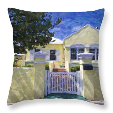 Throw Pillow featuring the photograph Traditional Bermuda Home by Verena Matthew