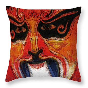 Traditional Chinese Opera Mask Throw Pillow