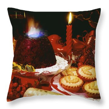 Traditional Christmas Dinner In Ireland Throw Pillow by The Irish Image Collection