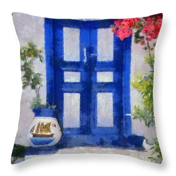 Traditional Door In Hydra Island Throw Pillow
