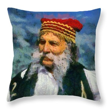 Man Dressed In Traditional Clothes In Delphi Throw Pillow